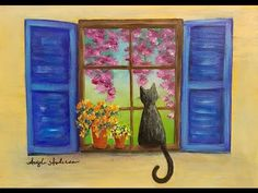 CAT in a Window with Flowers Acrylic Painting LIVE Beginner Step by Step Tutorial - YouTube