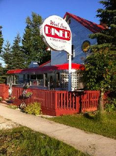 West Bay Diner, Grand Marais, Michigan been there! Grand Marais Michigan, Vacation Destinations, Vacations, 50s Diner, Go Usa, Places In America, American Diner, Michigan Travel, Upper Peninsula