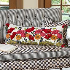 Field of Poppies on black and white sofa Black And White Furniture, Mackenzie Childs Inspired, Mckenzie And Childs, Pillow Room, Lumbar Pillow, Sewing Pillows, Patch Quilt, Soft Furnishings, Cushion Covers