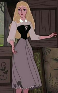 Princess Aurora's Peasant dress. Lives in the forest in an abandoned Wookcutters Cottage with 3 women
