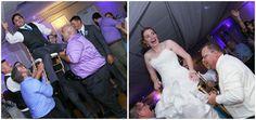 Aaron & Nora enjoy the hora bride and groom in chairs ~ Flanders Valley Weddings via Modern Jewish Wedding