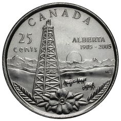 Designed by artist Michelle Grant, it portrays the richness of the Alberta landscape - mountains in the distance, prairie fields, an old-style oil derrick and the wild rose. Rare Coins Worth Money, Valuable Coins, Canadian Coins, Canadian History, Mint Coins, Silver Coins, Foreign Coins, Penny Coin, Coin Worth