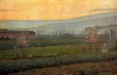 "Isidre Nonell Monturiol (1873 - 1911). ""Al atardecer. Sant Martí de Provençals, 1986"". Óleo sobre lienzo. 96 x 145,5 cms. Colección particular, Barcelona. España."