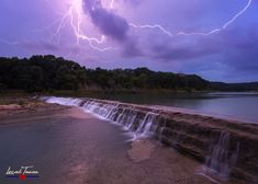A dramatic lightning strike lights up the Blanco River at 5 Mile Dam in San Marcos, TX, momentarily turning night into day. Prints available for ordering. Lightning Flash, Lightning Strikes, Types Of Lighting, Print Store, Photographic Prints, Waterfall, Canvas Prints, San, River