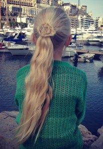 Ponytail with a flower, rose