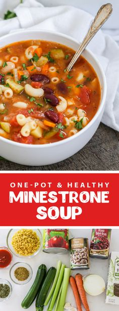 Healthy and hearty minestrone soup is the perfect hearty lunch or dinner for the whole family. This soup is easy to make and is filled with nutritious veggies and beans. This minestrone soup is an Olive Garden copycat. This soup is vegetarian and perfect for kids and adults. #minestronesoup