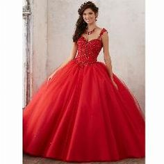 59bada34820    24 OFF   Red Quinceanera Dresses Spaghetti Straps Beaded Tulle Ball Gown  Red Prom Gownscheap
