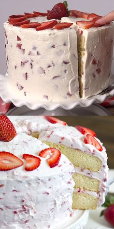 Strawberry Shortcake Discover Fresh Strawberry Cake Homemade strawberry cake topped with light and fluffy whipped cream strawberry frosting. A delicious cake that tastes just a strawberry shortcake! Strawberry Frosting Recipes, Homemade Strawberry Cake, Fresh Strawberry Cake, Strawberry Shortcake Recipes, Strawberry Desserts, Cake With Strawberry Filling, Chocolate Strawberry Cake, Cherry Vanilla Cake Recipe, Frozen Yogurt Cake Recipe