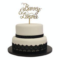 Wood or Plastic Laser Cut rustic wedding cake topper custom message design service. UK made.