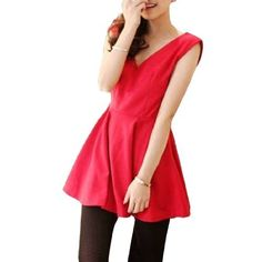 Allegra K Woman V Neck Sleeveless Tunic Blouse Tops Solid Red S Allegra K. $10.35