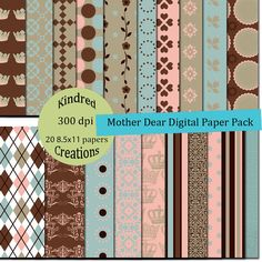 Mother Dear 8.5x11 Digital Paper Pack 300 dpi printable personal and small business use BUY 2 GET 1 FREE
