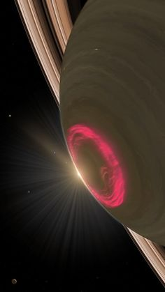 The aurora australis at Saturn's southern pole.