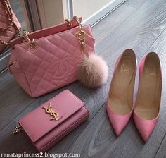Louis Vuitton Bag bag, and chanel My Bags, Purses And Bags, Catty Noir, Pink Love, Christian Louboutin, At Least, Fashion Accessories, Purple Accessories, Tory Burch