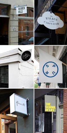 Retail Signage Roundup Rena Tom / retail strategy, trends and inspiration for creative businesses Shop Signage, Retail Signage, Wayfinding Signage, Signage Design, Cafe Design, Logo Design, Blade Sign, Environmental Graphics, Store Signs