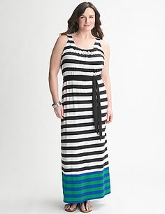 Combining a trendy, toe-skimming length and colorful mix of stripes, our soft knit maxi dress offers easy-wearing femininity for any season. Sleeveless with a flattering scoop neck, elastic waist and tie belt. lanebryant.com