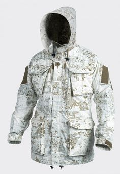 "Absolutely my favorite Winter Camo Pattern, Pencott's ""SnowDrift"" Pattern! The Personal Clothing System Smock (PCS) Parka/Smock from HELIKON-TEX is now also available in Olive Green Pencott Camouflage Greenzone & Snowdrift. Mens Hunting Jacket, Hunting Jackets, Hunting Clothes, Hunting Camo, Airsoft, Winter Camo, Winter Gear, Tactical Clothing, Tactical Gear"