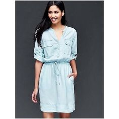 NWT SOLD OUT GAP utility chambray denim shirt dress L 10 12 14 NEW! Fall trend | eBay