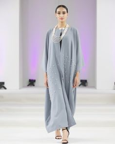   The Crystal abayah   Sophistication X Style. Duck Egg open abayah with pearl & crystal embellishments 😻✨ Abayas, Embellishments, Duster Coat, Egg, Crystal, Pearls, Jackets, Dresses, Style