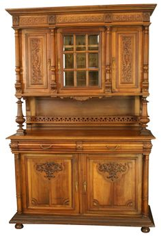 Antique French Renaissance Buffet Carved in Walnut with Leaded Glass Wind   eBay