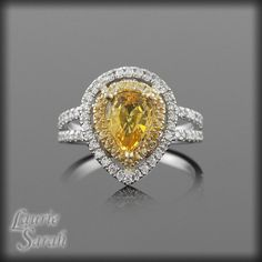 Pear Shaped Yellow Sapphire Ring with Yellow by LaurieSarahDesigns
