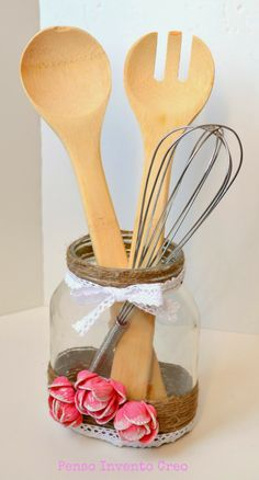 penso+invento+creo: Regali per la Festa della Mamma: barattolo decorato con iuta e pasta