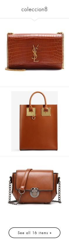"""""""coleccion8"""" by lauracabrera-2 ❤ liked on Polyvore featuring bags, handbags, shoulder bags, brown, brown leather handbags, brown leather shoulder bag, brown shoulder bag, leather handbags, genuine leather purse and tote bags"""