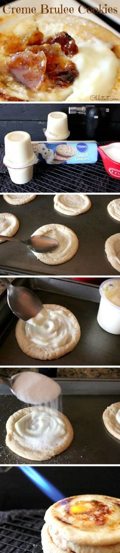 Creme Brulee Cookies ~ Says: It's Creme Brulee, in Cookie form..no spoon or bowl required!... You just can't beat a sweet, warm tender Sugar Cookie filled with 'Vanilla Cream' and topped with a crispy, burnt Sugar Shell!  And those dark sugary Cookie edges are to die for!