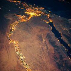 Cairo, the Delta, Suez canal cities & upper Egypt cities night lights
