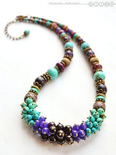 Купить Бусы с бирюзой «Таинственный сад» - бирюзовый, фиолетовый, колье с бирюзой, бусы из камней