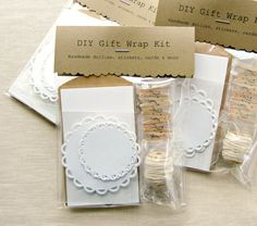 Gift Wrap Kit DIY - Gift Enclosures & Embellishments, Stickers, Baker's Twine, Clothespins, Paper Doilies, Labels, DIY Craft Kit