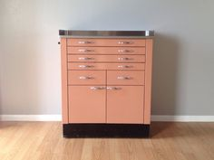 vintage 50s pink metal medical cabinet. retro mid century furniture & decor.   ReRunRoom   $695.00