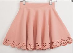 Scalloped high-waisted skirt with floral eyelet cuts on the hems.  Free size fits everyone  Colors: Blush, Black, Cobalt, Maroon, Hot Pink, Scarlet