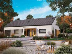 Projekt domu parterowego KA44 VER.1 o pow. 112,64 m2 z garażem 1-st., z dachem dwuspadowym, z tarasem, sprawdź! Home Fashion, Pergola, Cabin, Mansions, House Styles, Outdoor Decor, Home Decor, Houses, Projects