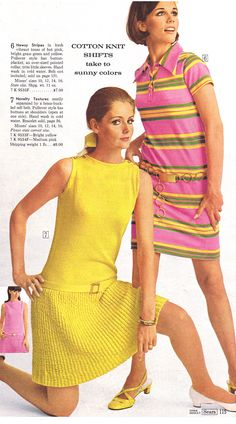 Sears 1968 vintage fashion style 60s color photo print ad models magazine catalogue yellow pink drop waist shift dress polo stripe knit shoes