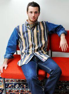 Men in bohemian style with a Lanvin vintage tie  www.bluemadone.com #vintage #bohemian #hippie #chic #lanvin
