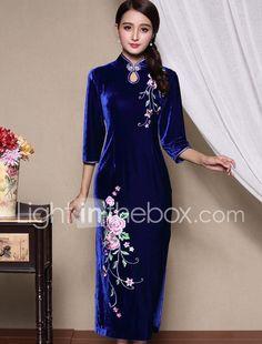 Γυναικεία Καθημερινά / Μεγάλα Μεγέθη Κινεζικό στυλ Θήκη Φόρεμα,Κέντημα ¾ Μανίκι Όρθιος Γιακάς Μακρύ Μπλε / Κόκκινο Μετάξι Φθινόπωρο 5425070 2017 – €36.25