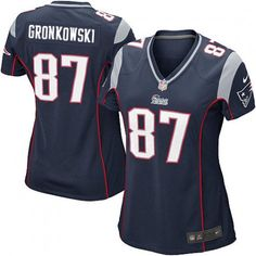 Game Rob Gronkowski Womens Jersey - New England Patriots #87 Home Navy Blue Nike NFL