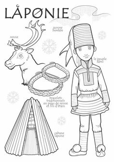 Paper doll to color, Lapland region: northern Finland) Colouring Pages, Coloring Books, Reindeer Craft, World Thinking Day, Kids Around The World, World Geography, World Cultures, Craft Stick Crafts, Continents