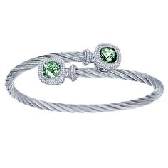 925 Silver/stainless Steel Green Amethyst Bangle | Gabriel & Co NY | BG2963MXJGA
