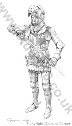 Thomas Montagu, Earl of Salisbury c.1415  The armour is primarily based on the tomb effigy of Ralph Greene, at Lowick church, Northamptonshire (died 1417), and the very similar effigy of John de Vere, Earl of Oxford. The surcoat displays the heraldry of Thomas Montagu, Earl of Salisbury.