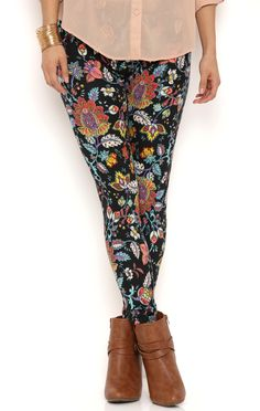 Deb Shops Boho Floral Print Brushed Leggings $9.60