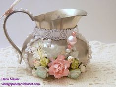 The Shabby Tea Room by Vintage Paper Art - Cards and Paper Crafts at Splitcoaststampers Shabby Chic Crafts, Vintage Shabby Chic, Shabby Chic Homes, Vintage Tea, Shabby Chic Decor, Vintage Paper, Tea Room Decor, Shaby Chic, Bule