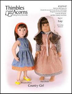 Thimbles and Acorns Country Girl Bundle Doll Clothes Pattern 16 Inch and 18 Inch Dolls | Pixie Faire