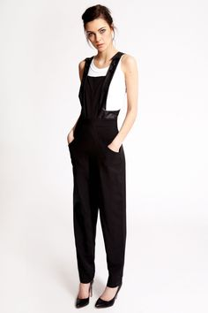 Boutique Stella PU Trim Bib Front Tailored Jumpsuit >> £30.00 #boohooboutique