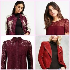 We are Cranberry Crushing with this season's hottest styles in this super color, fancy event or you are going out for lunch, we have a look for you. Going Out, Leather Jacket, Fancy, Hot, Jackets, Color, Style, Fashion, Studded Leather Jacket