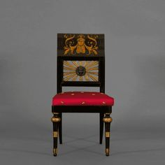 A Pair Of Giltwood And Ebonized Neoclassical Side Chairs With Penwork Decoration