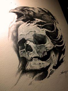Crow and skull by AndreySkull.deviantart.com on @deviantART