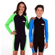 Kid's Shortie Sunsuit, Long Sleeves- UPF 50+ Sun Protection - Black/Royal(blue) - 10y