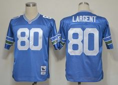 Seattle Seahawks #80 Steve Largent Blue Throwback Jersey