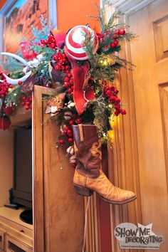 Christmas decorations for the man cave! Add a real boot to the end of a garland so they really feel at home!  http://www.showmedecorating.com/blogs/news/15116005-show-me-a-christmas-tree-home-tour